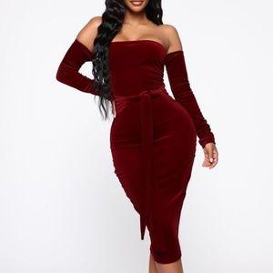 Burgundy velvet off the shoulder dress